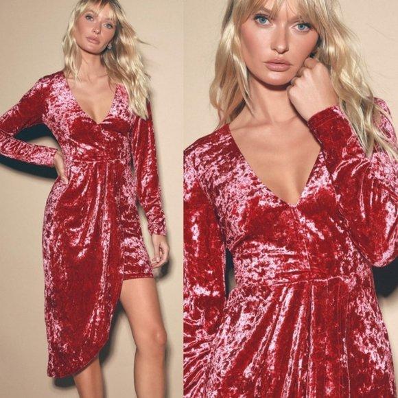 Strong Ambition Fuchsia Velvet Asymmetrical Dress